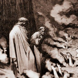 Dante, gazing upon the Popes guilty of simony in Inferno.